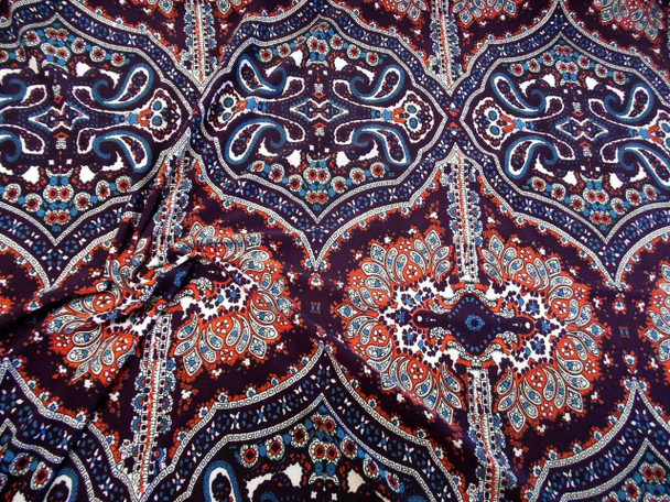 Discount Fabric Printed Spandex 4 way Stretch Paisley Burgundy Orange Blue B405