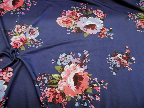 Discount Fabric Printed Spandex 4 way Stretch Navy Pink Blue Green Floral C305
