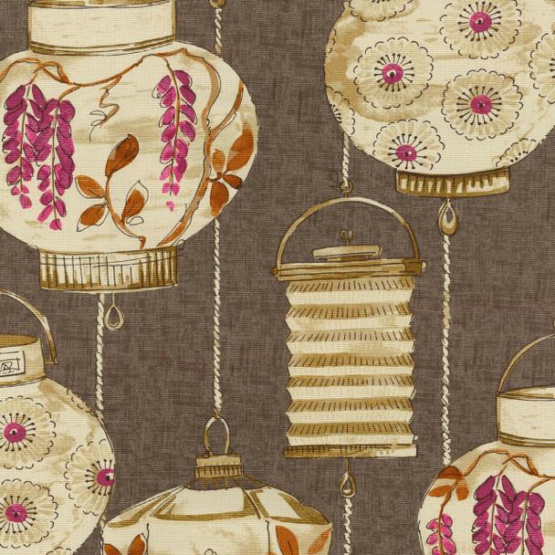 Fabric Upholstery Drapery Waverly Illuminata Spice Asian Themed Latterns FF15