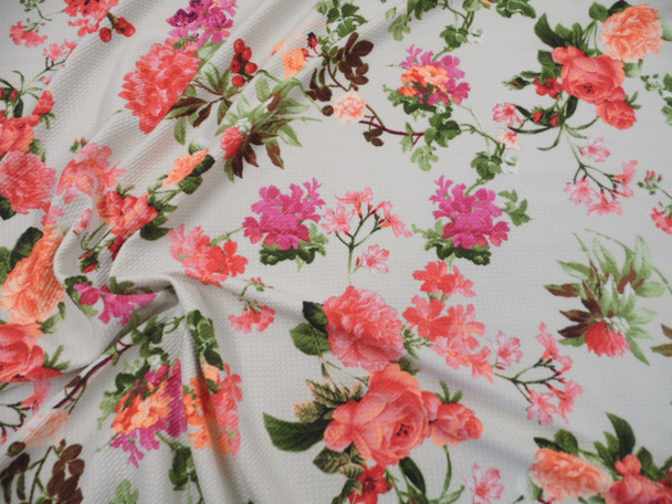 Bullet Printed Liverpool Textured Fabric 4 way Stretch Orange Red Pink Floral U22