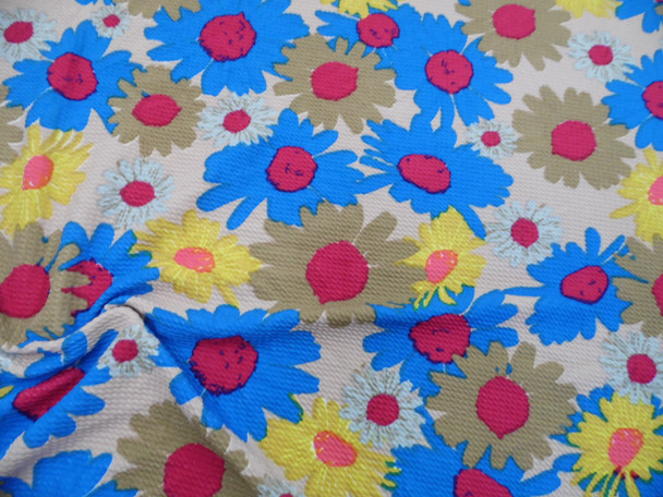 Bullet Printed Liverpool Textured Fabric 4 way Stretch Blue Yellow Pink Tan Floral V30