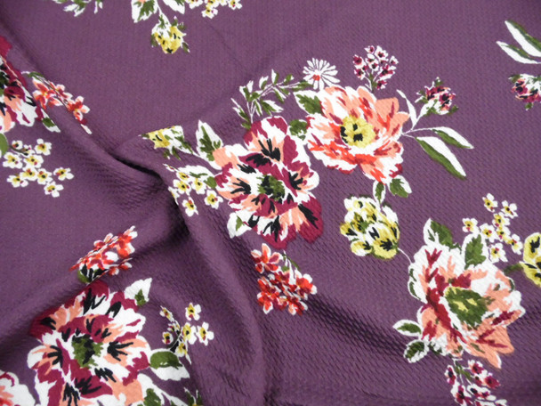 Bullet Printed Liverpool Textured Fabric 4 way Stretch Orchid Purple Magenta Peach Yellow Floral V10