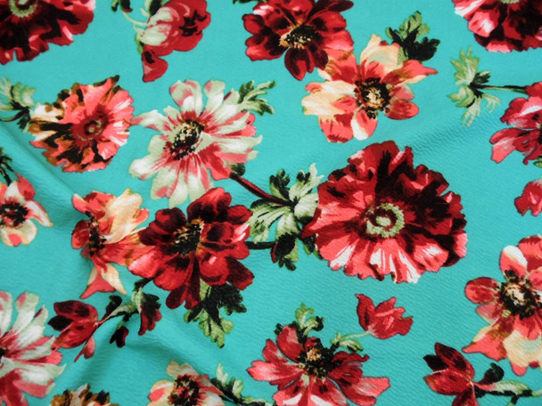 Printed Liverpool Textured Fabric 4 way Stretch Turquoise Burgundy Peach Green Floral G102
