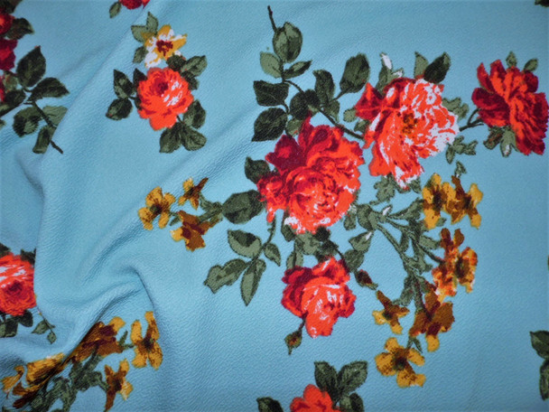 Printed Liverpool Textured Fabric 4 way Stretch Slate Blue Orange Burgundy Yellow Floral G601