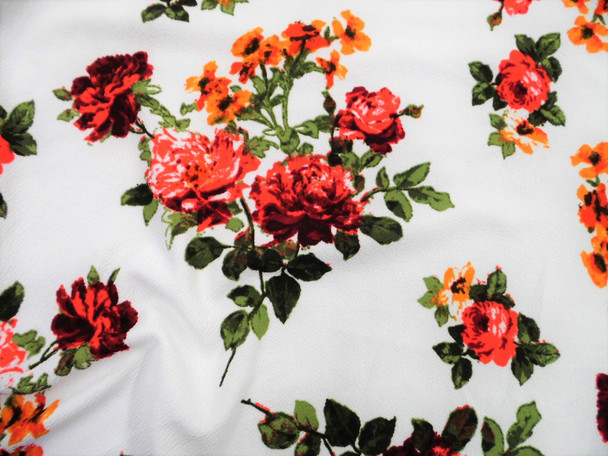 Printed Liverpool Textured Fabric 4 way Stretch White Red Burgundy Orange Floral G603