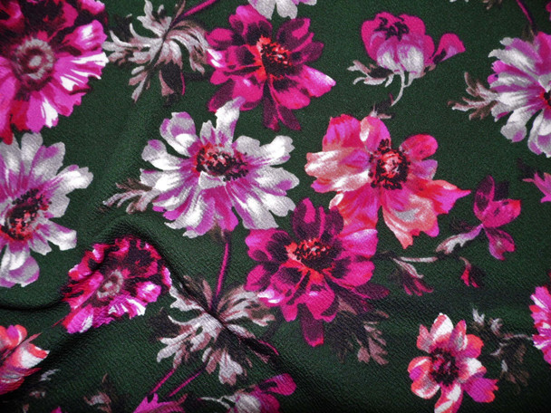 Printed Liverpool Textured Fabric 4 way Stretch Midnight Green Purple Green Gray Floral G701