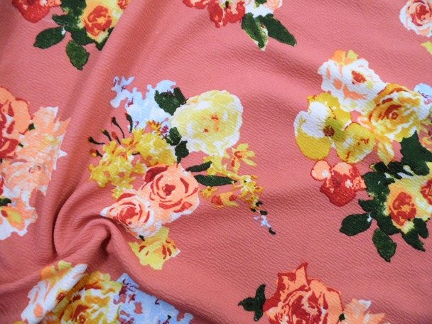 Printed Liverpool Textured Fabric 4 way Stretch Dark Peach Mauve Yellow Blue Floral G703