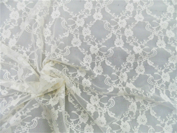 Stretch Mesh Lace Fabric Ivory Floral Lattice Sheer A407