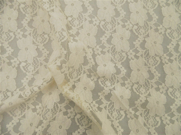 Stretch Mesh Lace Fabric Cream Floral Sheer D306