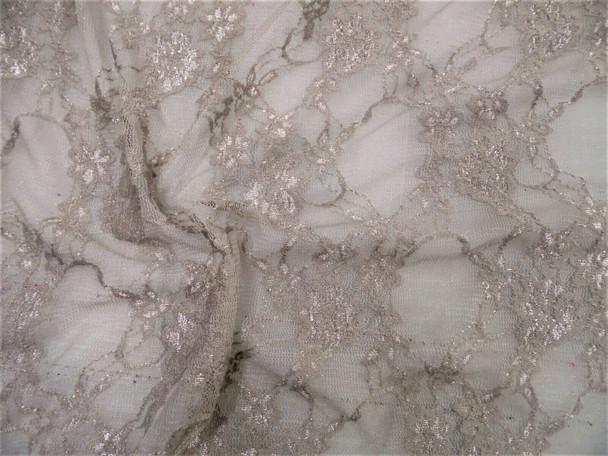 Stretch Mesh Lace Fabric Smokey Gray Floral Sheer Metallic Sheen D307