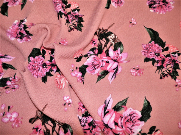 Printed Liverpool Textured Fabric Stretch Mauve Pink Fuchsia Brown Floral I107