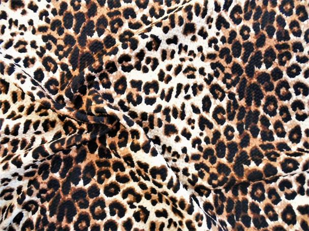 Bullet Printed Liverpool Textured Fabric 4 way Stretch Cheetah Animal Taupe U38
