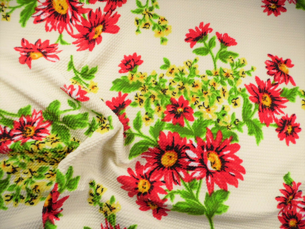 Bullet Printed Liverpool Textured Fabric 4way Stretch Ivory Red Yellow Floral Q4