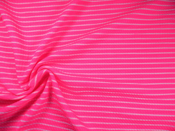 Bullet Printed Liverpool Textured Fabric 4 way Stretch Neon Pink Stripe R21