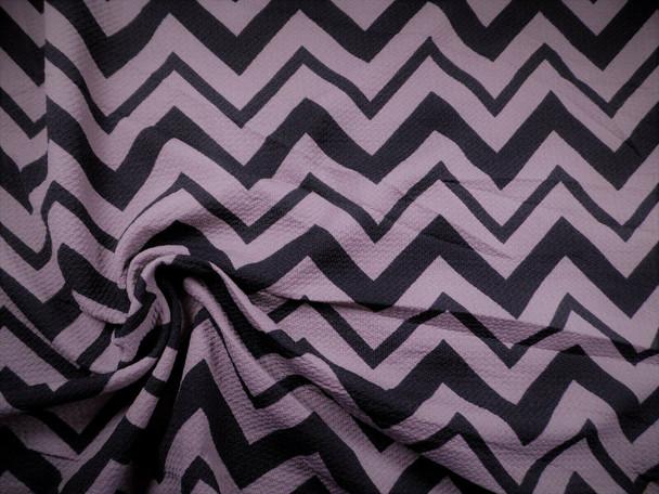 Bullet Printed Liverpool Textured Fabric 4 way Stretch Black Gray Chevron R50