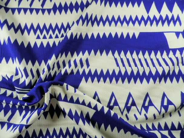 Bullet Printed Liverpool Textured Fabric 4way Stretch Royal Blue Ivory Aztec U27
