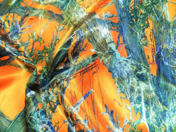 Fabric True Timber Camo MC2 Blaze Orange Charmeuse Silky Bridal Satin CS24