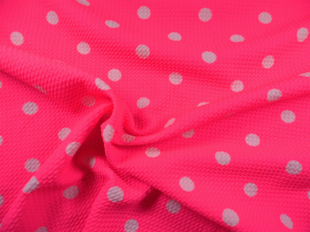 Bullet Printed Liverpool Textured Fabric Stretch Neon Pink Ivory Polka Dot P40