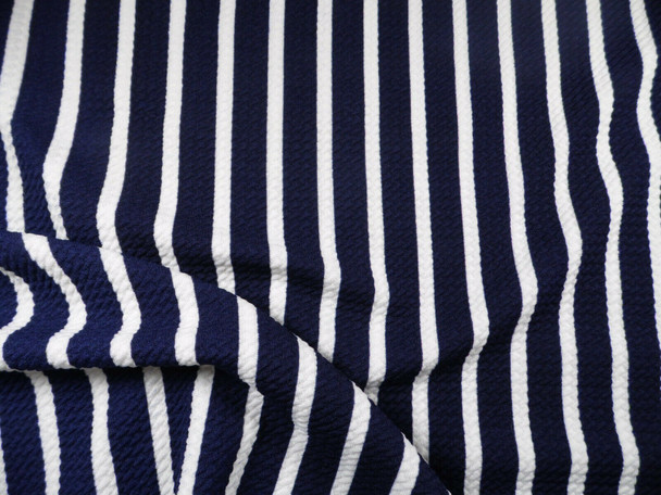 Bullet Printed Liverpool Textured Fabric Stretch Navy White Small Stripe O40