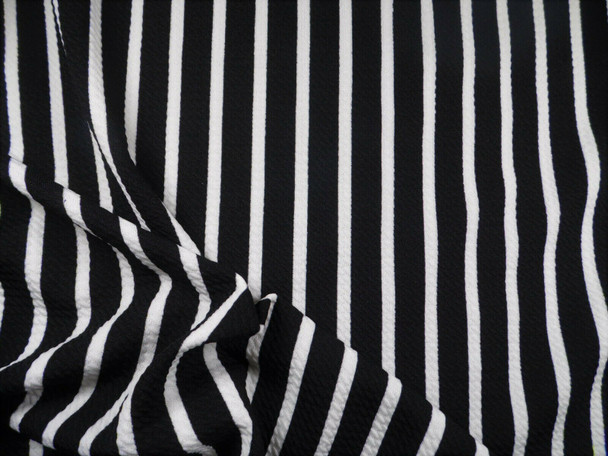 Bullet Printed Liverpool Textured Fabric Stretch Black Ivory Small Stripe O42