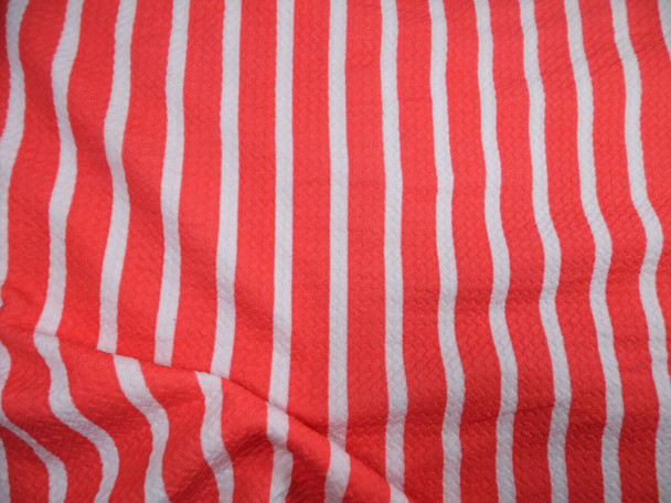 Bullet Printed Liverpool Textured Fabric Stretch Raspberry White Small Stripe O50