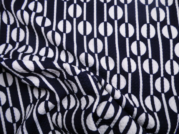 Bullet Printed Liverpool Textured Fabric Stretch Ethnic Dots Navy White X60
