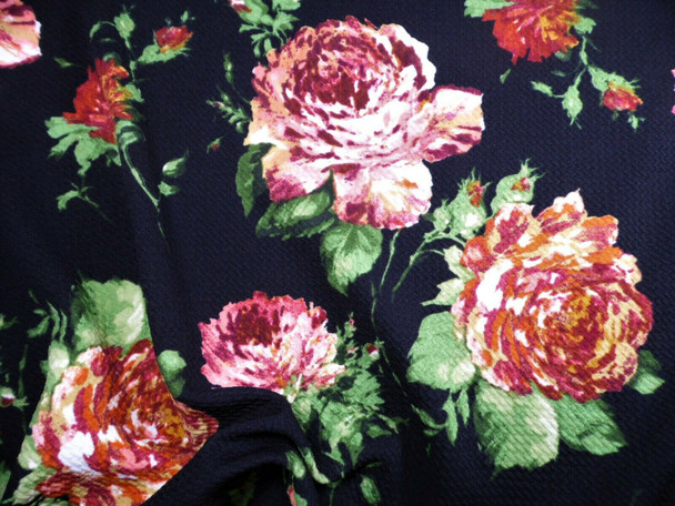 Bullet Printed Liverpool Textured Fabric Stretch Black Burgundy Mauve Floral X61