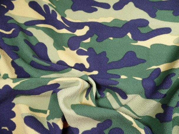 Printed Liverpool Textured Fabric Stretch Woodland Camouflage Tan Green H509