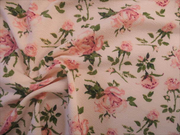 Printed Liverpool Textured Fabric Stretch Soft Pink Mauve Green Floral H702