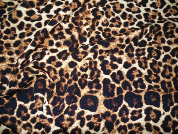 Printed Liverpool Textured Fabric 4 way Stretch Scuba Cheetah Tan Brown L507