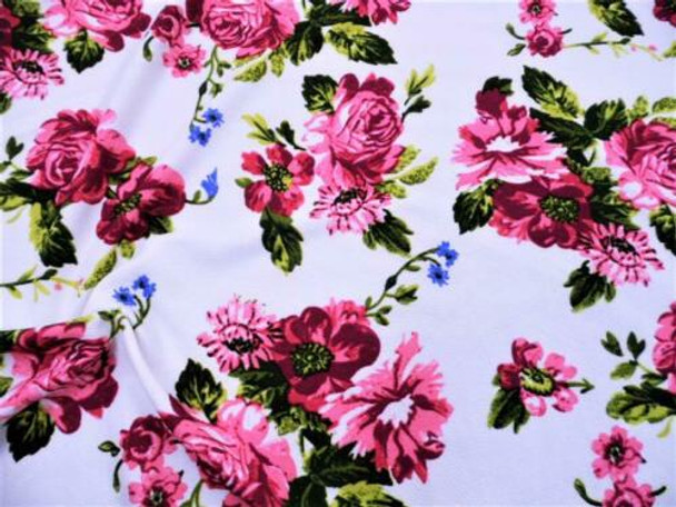 Printed Liverpool Textured 4 way Fabric Stretch Pink Mauve Green Floral I303