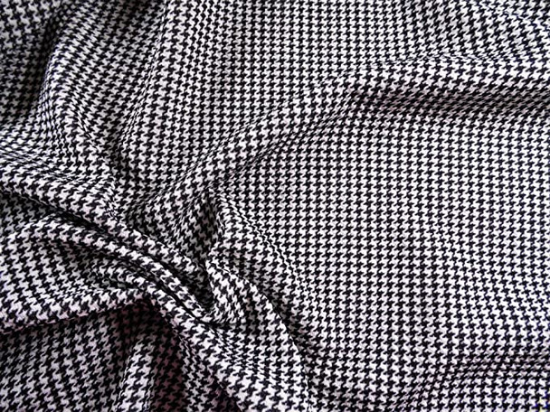Printed Liverpool Textured Fabric Stretch Scuba Micro Houndstooth Black White I208