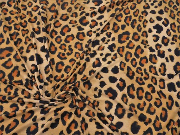 Discount Fabric Brushed Printed Spandex Stretch Tan Black Brown Cheetah D310
