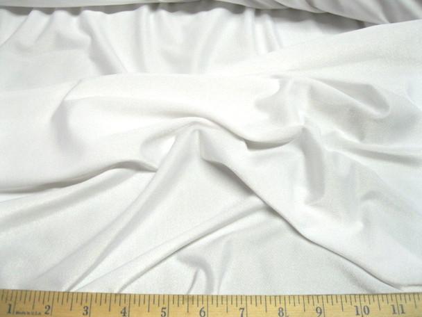 Discount Fabric Polyester Lycra Spandex  4 way stretch White Matt Finish LY710