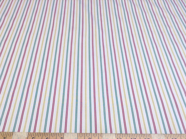 Discount Fabric Top Weight Cotton Shirting Apparel Red Green Yellow Stripe CT004
