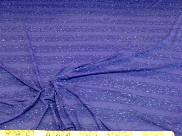 Discount Fabric Brushed Spandex 4 way stretch Heather Periwinkle Stripe LY601