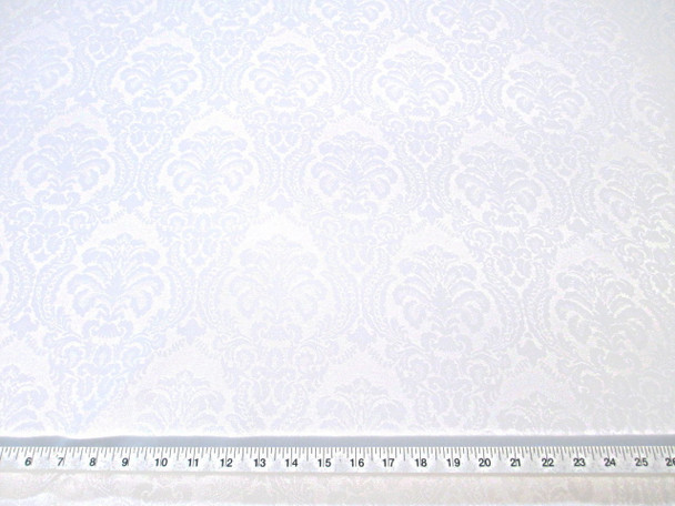 Discount Fabric 72 inches wide Drapery Damask Jacquard Floral White DR47