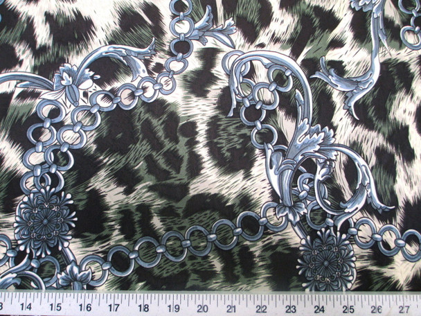 Discount Fabric Printed Lycra Spandex Stretch Big Cat Chains Black & Green C200