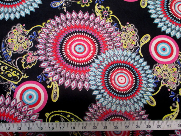 Discount Fabric Printed Spandex Stretch Sunflower Pink Yellow and Turquoise D401