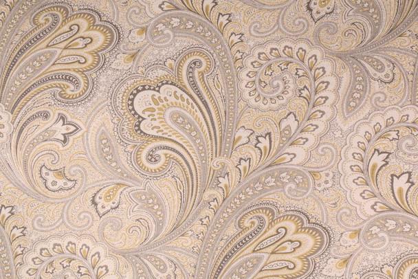Discount Fabric Richloom Upholstery Drapery Linen Barilla Greystone Paisley MM14