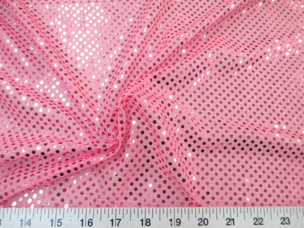 Discount Fabric Stretch Glitter Mesh Sequin Dots Pink Sheer Sparkle L43