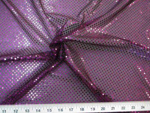 Fabric Stretch Glitter Mesh Sequin Dots Black and Purple Sheer Sparkle L49