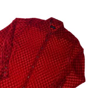 Gucci by Tom Ford 1997 Red Velvet Monogram Shirt