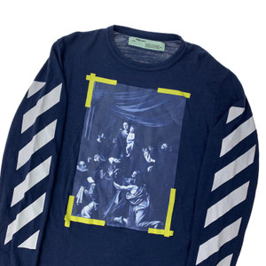 Off-White Navy Caravaggio Long Sleeve T Shirt