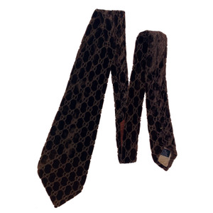 Gucci by Tom Ford 1997 Brown Velvet Monogram Tie