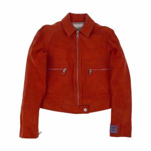 Chanel Spring 2002 Orange Leather Biker Jacket