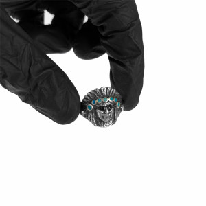Sterling Silver Turquoise Chief Head Ring