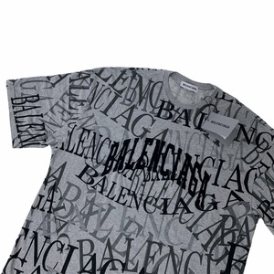 Balenciaga All Over Logo Grey T Shirt