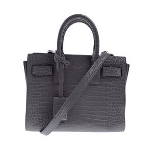 Saint Laurent Paris Nano Sac de Jour Crocodile Embossed Grey Leather Bag