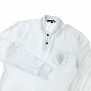 Gucci Crest Patch White Long Sleeve Polo
